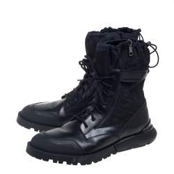 Dior Black Canvas And Leather Explorer Ankle Boots Size 44