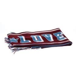 Dolce & Gabbana Bicolor Royal Love Knit Cashmere Fringed Stole