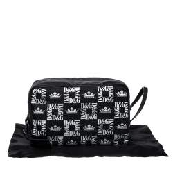 Dolce & Gabbana Black Crown Print Nylon and Leather Pouch