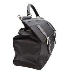 Dolce and Gabbana Black Nylon Leather Top Handle Bag