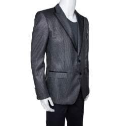 Dolce & Gabbana Black Striped Lurex Martini Tuxedo Jacket L