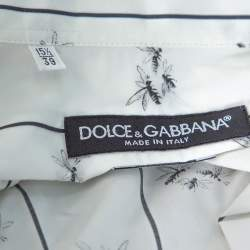 Dolce & Gabbana White Cotton Bee Print Long Sleeve Button Front Shirt M
