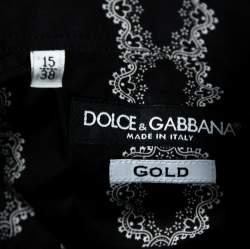 Dolce & Gabbana Black Floral Motif Cotton Silk Pleat Detail Shirt L