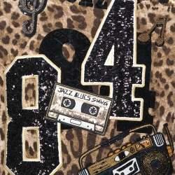 Dolce & Gabbana Brown Leopard Print Jacquard Musical Patch Sweatshirt L