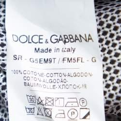 Dolce & Gabbana Monochrome Cotton Button Front Gold Slim Fit Shirt XL