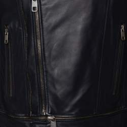 Dolce & Gabbana Navy Blue Leather Quilted Lined Biker Jacket M