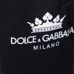 Dolce & Gabbana Black Knit Striped Trim Detail Track Pants S