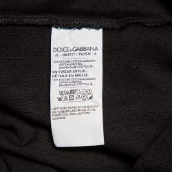 Dolce & Gabbana Black Cotton Pique Logo Patch Detail Polo T-Shirt L