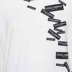 Dolce & Gabbana White Logo Patch Detail Cotton Crewneck T-Shirt L