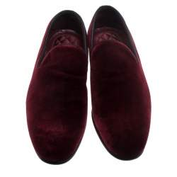 Dolce & Gabbana Burgundy Velvet Smoking Slippers Size 40