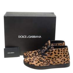 Dolce & Gabbana Brown Leopard Print Calf Hair High Top Sneakers Size 41.5