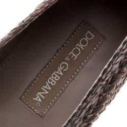 Dolce & Gabbana Bicolor Braided Leather Espadrilles Size 45
