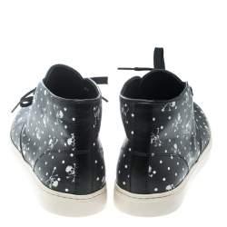 Dolce & Gabbana Black Skull and Cross Bone Print Canvas High Top Sneakers Size 41
