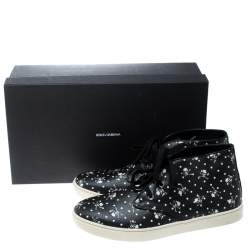 Dolce & Gabbana Black Skull and Cross Bone Print Canvas High Top Sneakers Size 44