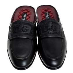 Dolce & Gabbana Black Leather Embroidered Logo Slip On Mules Size 44