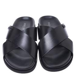 Dolce & Gabbana Black Leather Cross Strap Flat Sandals Size 39