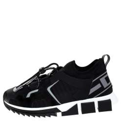 Dolce & Gabbana Black Leather and Mesh Sorrento Trekking Sneakers Size 42.5