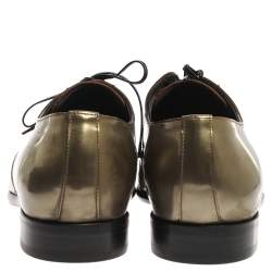Dolce & Gabbana Metallic Green Patent Leather Oxfords Size 42.5
