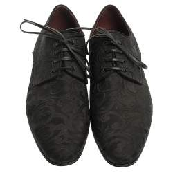 Dolce & Gabbana Black Lace Fabric Lace Up Oxfords Size 42