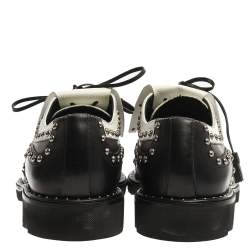 Dolce & Gabbana Black/White Studded Leather Brogue Detail Fringe Oxfords Size 43