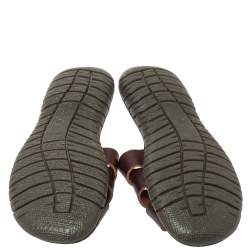 Dolce & Gabbana Brown Leather Criss Cross Flat Sandals Size 38