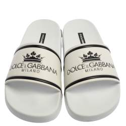 Dolce & Gabbana White Leather Crown Logo Slip On Slides Size 40