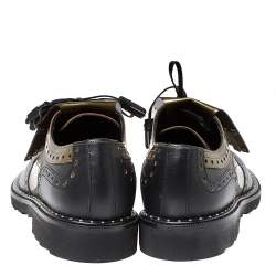 Dolce & Gabbana Black/Olive Patent Leather And Leather Brogue Detail Fringe Oxfords Size 41