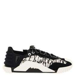 Dolce & Gabbana Black/White Mixed-Materials NS1 Logo Print Sneakers Size IT 43