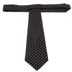 Dolce & Gabbana Black Polka Dotted Silk Broad Traditional Tie