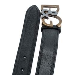 Dolce & Gabbana Black Leather Logo Belt Size 95CM