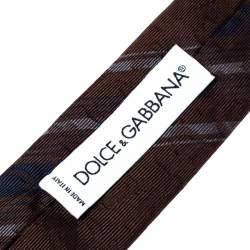 Dolce & Gabbana Brown Logo Silk Striped Tie