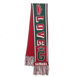 Dolce & Gabbana Red & Green Royal Love Fringed Intarsia Knit Scarf