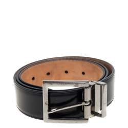 Dolce & Gabbana Black Glossy Leather Classic Belt 90CM