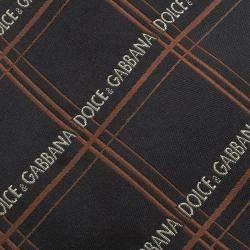 Dolce & Gabbana Black and Orange Logo Embroidered Silk Tie