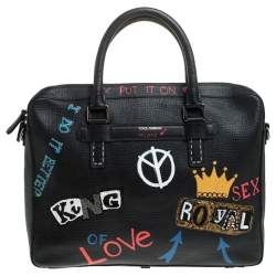 Dolce & Gabbana Black Leather Embellished Patch Briefcase
