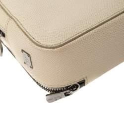 حقيبة سفر صغيرة دولتشي أند غابانا جلد أبيض محبب بسحاب