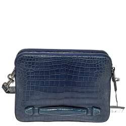 Dolce & Gabbana Blue Crocodile Double Zip Wristlet Clutch