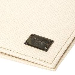 Dolce & Gabbana Off White Leather Bifold Wallet