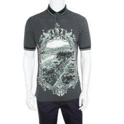 Dolce & Gabbana Green and White Printed Polka Dotted Knit Polo T-Shirt M