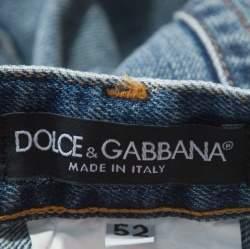Dolce & Gabbana 14 Gold Indigo Light Wash Denim Distressed Straight Jeans XL