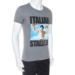 Dolce & Gabbana Grey Rocky Balboa Print Jersey T-Shirt S
