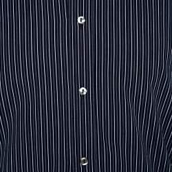 Dolce & Gabbana Navy Blue Striped Cotton Tailored Shirt M