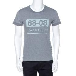 Dolce & Gabbana Grey Graphic Print Cotton Stripe Detail T-Shirt S