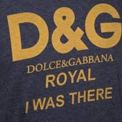Dolce & Gabbana Grey Cotton Royal Print T Shirt M