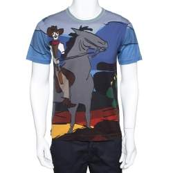 Dolce & Gabbana Multicolor Cotton Cowboy Print T Shirt XS