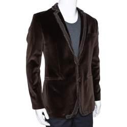 Dolce & Gabbana Brown Velvet Raw Edge Detail Blazer M
