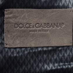 Dolce & Gabbana Pale Brown Leather Zip Front Hooded Jacket XL