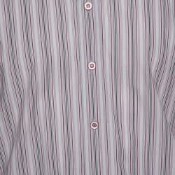 قميص دولتشي أند غابانا أزرار أمامية قطن مقلم وردي باهت مقاس كبير (لارج)