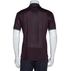 Dolce & Gabbana Dark Brown Knit Polka Dot Collar Detail Polo T-Shirt S