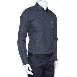 Dolce & Gabbana Grey Diamond Patterned Cotton Gold Fit Slim Shirt M